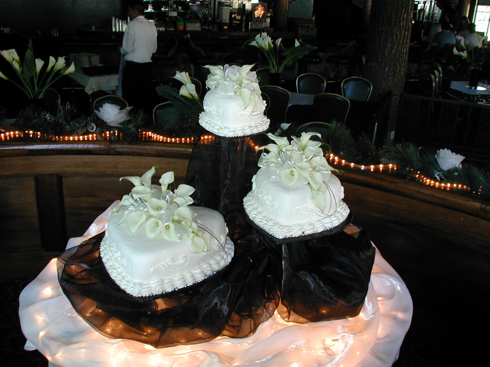 Black and White Heart Shaped Wedding Cake