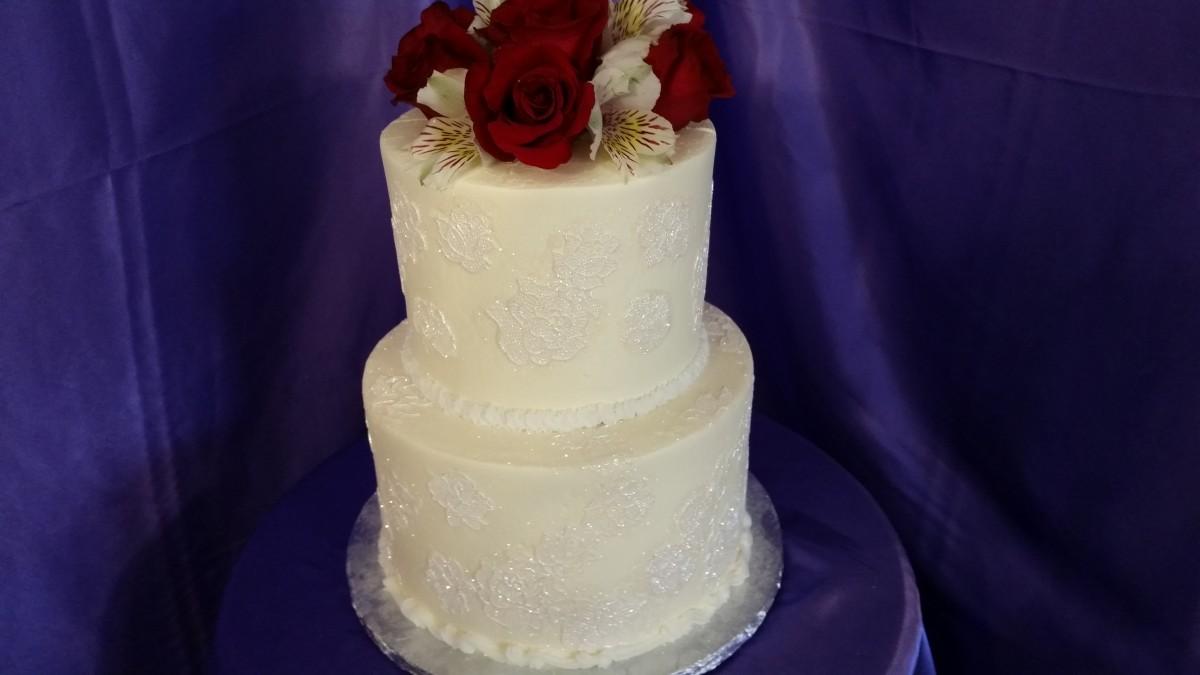 Burgandy Blush Wedding Cake