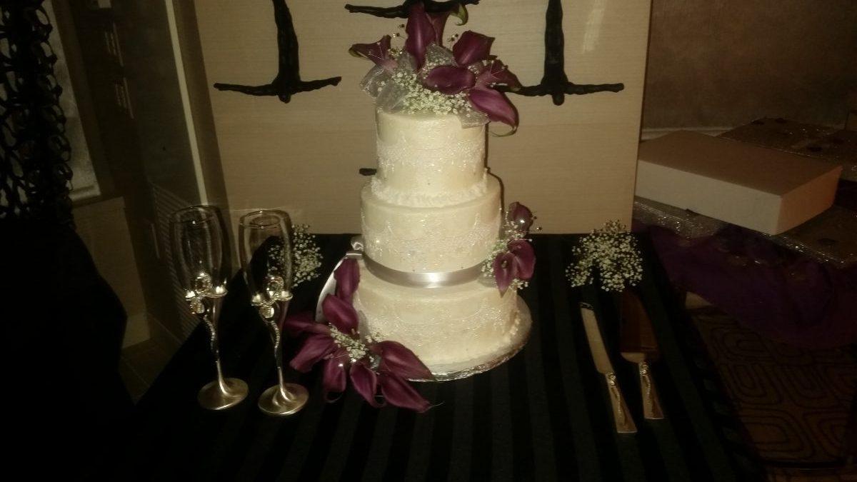 Burgundy Silver Cake