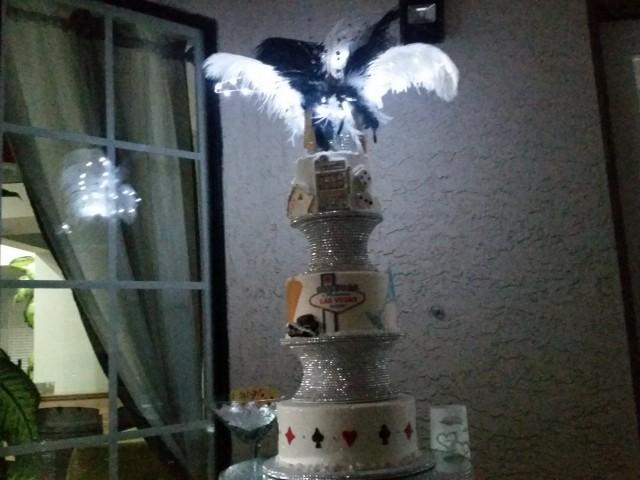 Old Vegas Wedding Cake