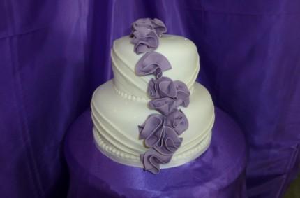 Purple Accent Wedding Cake