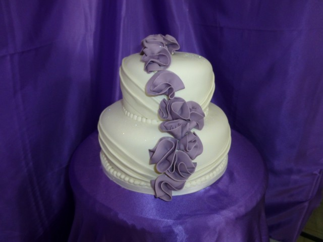 Purple Accent Wedding Cake