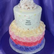 Rainbow Rosette Birthday Cake