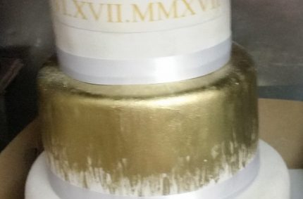 Roman Gold Wedding Cake