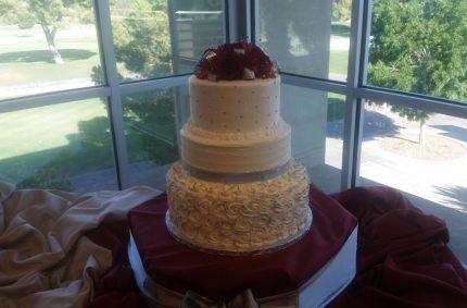 Silver Burgundy Wedding Cake