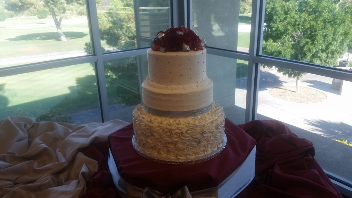 Silver Burgundy Wedding Cake