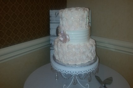 Soft Blush Rosette Cake