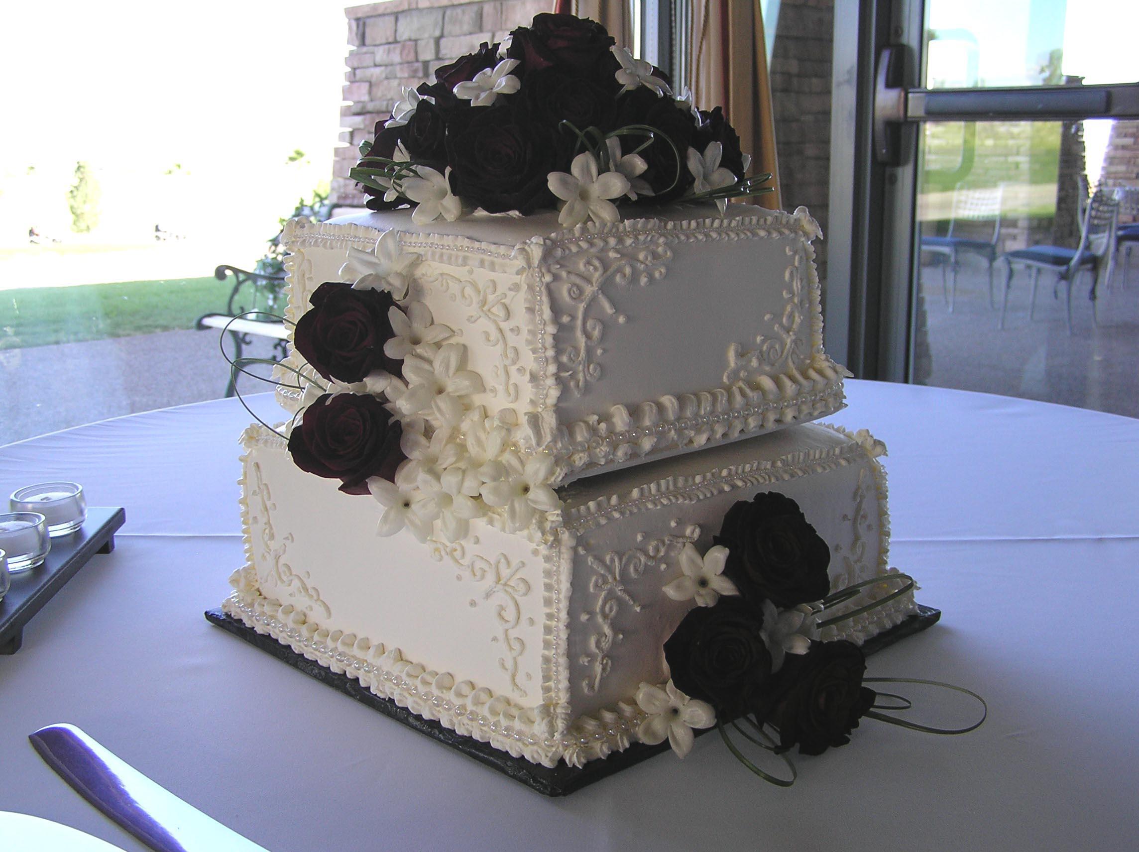 2 tier Burgundy and Pink Elegant Design Squared Wedding Cake