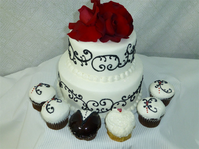 Black, White, Red Wedding Cake And Cupcakes