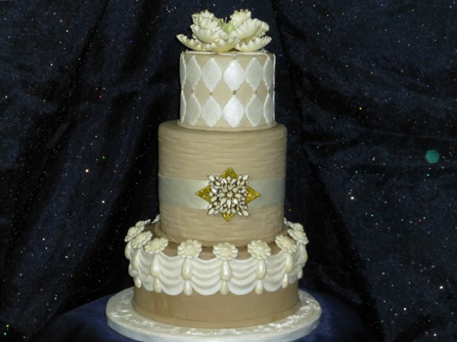 Jeweled Peony Wedding Cake